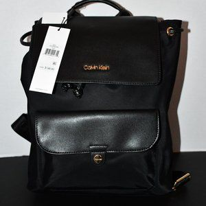 Calvin Klein Nylon Pocket Tote Backpack in Black E